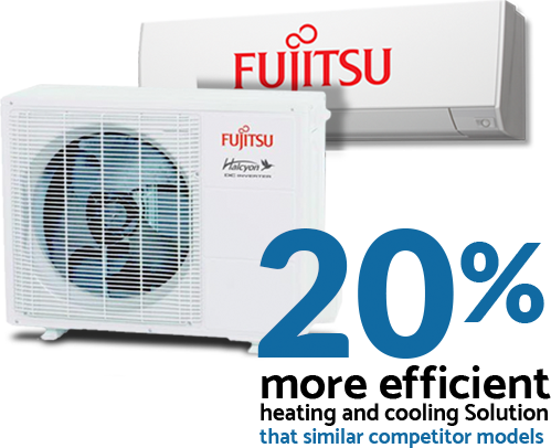 Fujistu Heat Pump Mini Spits are 20% more efficient at heating and cooling